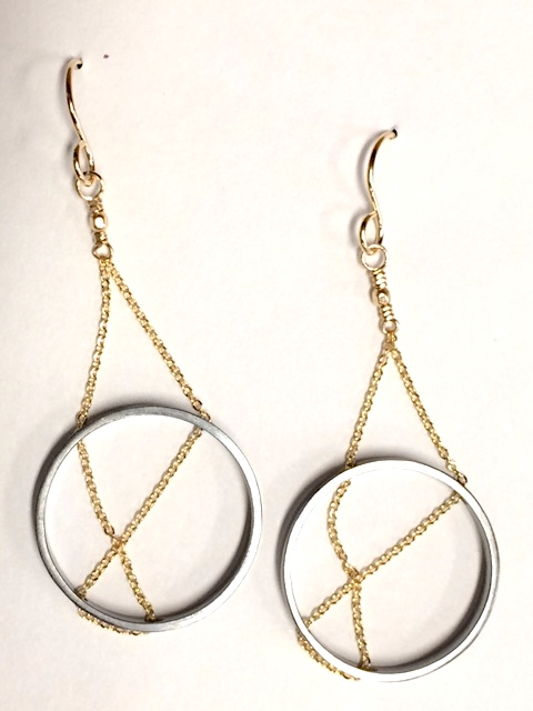 093944551 Inner Circle Earrings in Oxidized Silver & Gold